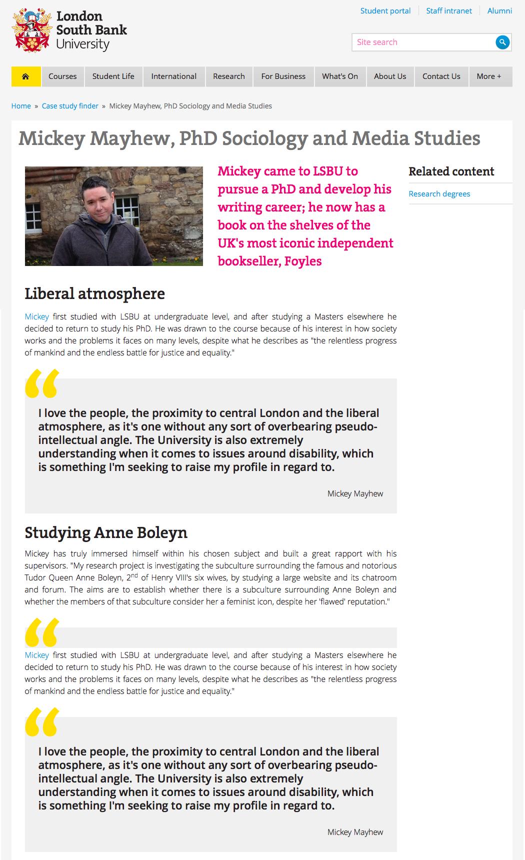 LSBU Mickey Mayhew PhD Student Feature Article