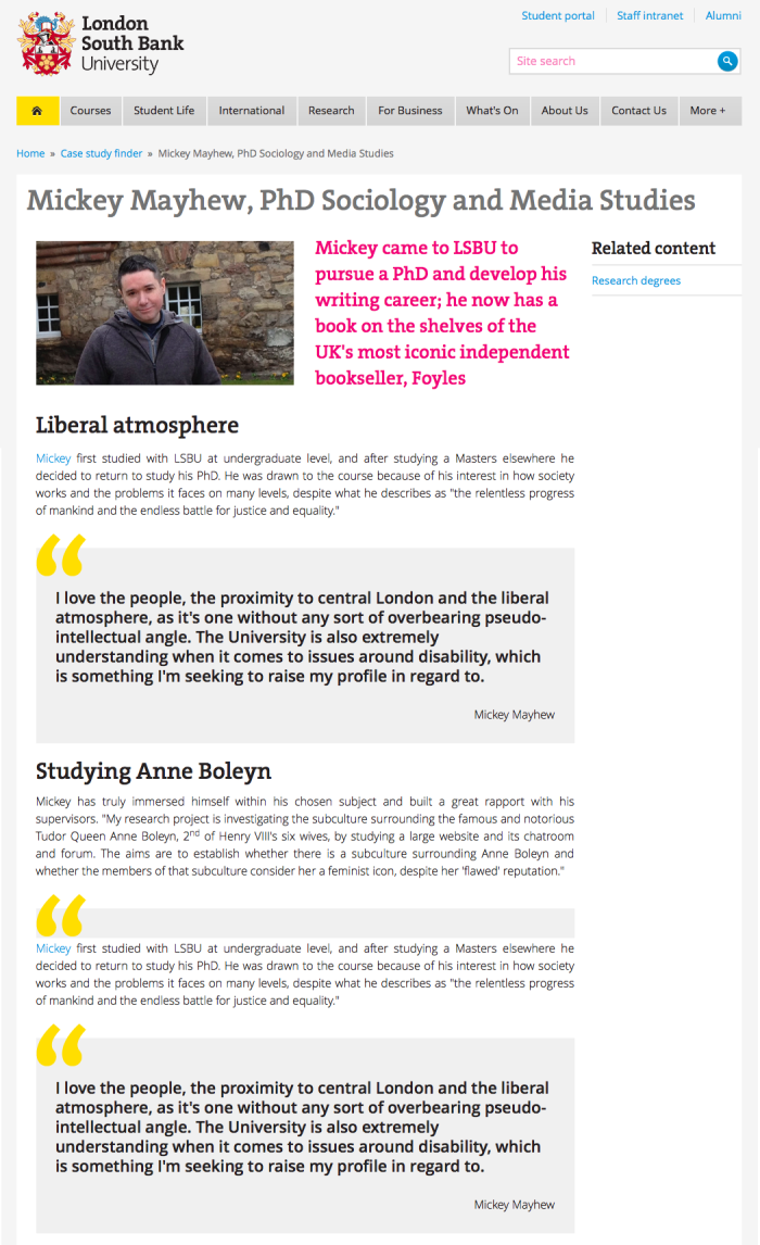 LSBU Mickey Mayhew PhD Student Feature Article