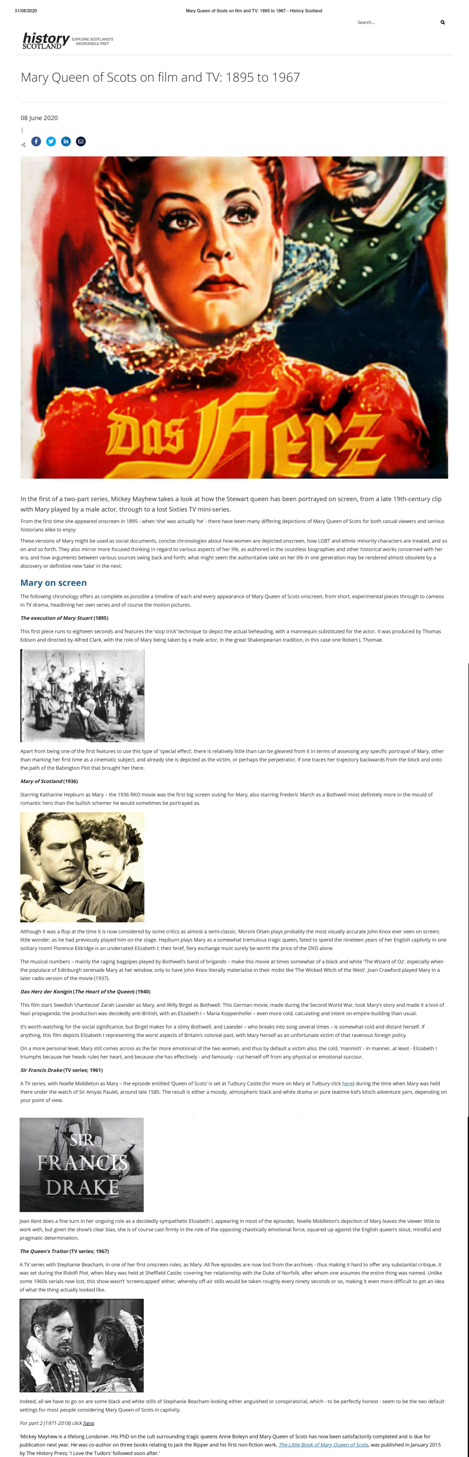Mary Queen of Scots on film and TV_ 1895 to 1967 - History Scotland
